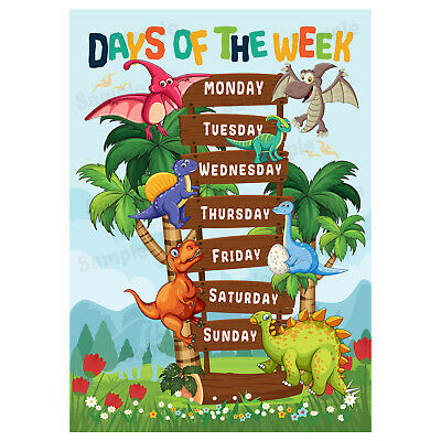Days of The Week Poster for Kids, Early Learning Educational Wall Chart Dinosaur