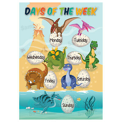 Days Of The Week Poster, Wall Chart Educational, Children, Kids, Dinosaurs Theme