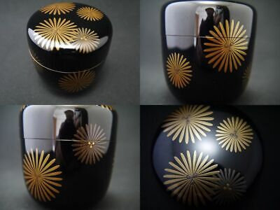 Japan Traditional Lacquer Wooden Tea caddy LARCH design in makie O-Natsume (416)