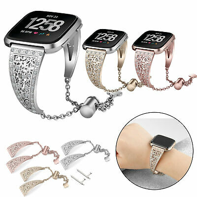 Crystal Bracelet For Fitbit Versa Band Stainless Steel Metal Wrist Band Strap