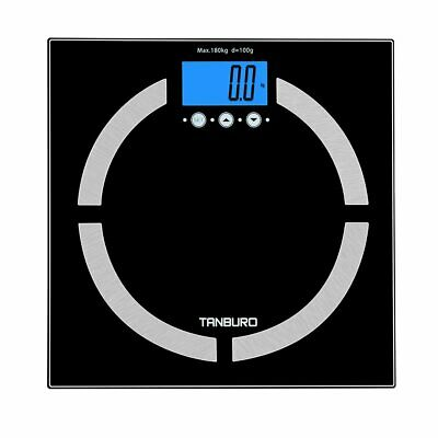 Electronic Digital Backlit Glass Body Bathroom Scale 180KG Gym Weight BMI Water
