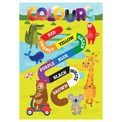 First Learning The Colours Poster, Wall Chart Educational Jungle Animals Theme