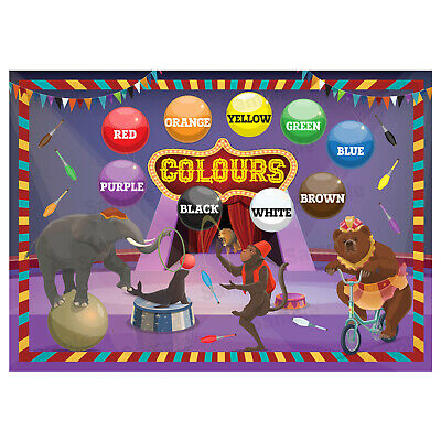 Learning The Colours Poster, Wall Chart Educational Kids Jungle Animals Theme