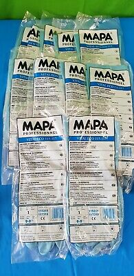 10 X Pair MAPA Blue Protective Latex Gauntlet Gloves Chemical Resistant Size XL