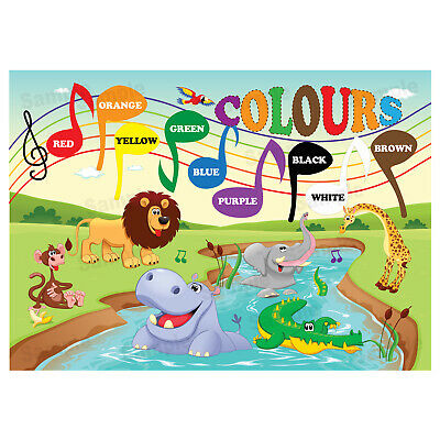 Learning The Colours Poster Wall Chart Educational boy Girl Jungle Animals Theme