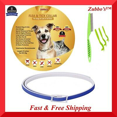 Flea and Tick Collar with Flea Comb & Tick Remover Kit for Dogs & Cats All Sizes