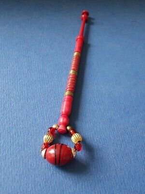 Bovine Bone Lace Bobbin. Tinted Red and Wired. Spangles.
