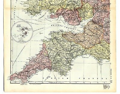1891 Antique Map SW ENGLAND WALES & SCILLY ISLANDS Victorian