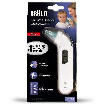 Braun ThermoScan 3 Infrared Ear Thermometer Baby Children Infant IRT3030