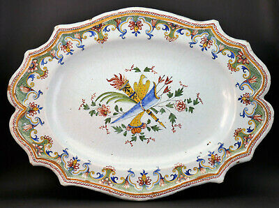 c1760, ANTIQUE 18thC FRENCH ROUEN FAIENCE MAJOLICA TIN GLAZED OVAL PLATE PLATTER
