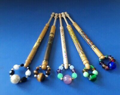 5 Wood Lace Bobbins. Buckingham Lace Circle in 1900's. Spangles.
