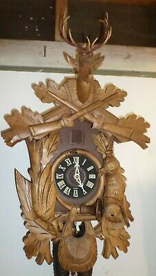 Large Rare German Schmeckenbecher Hand Carved 8 Day Hunter Deer Cuckoo Clock!