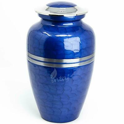 """Cremation Urn for Human Ashes Adult 10"""" Handcrafted Large Funeral Urn - Blue"""