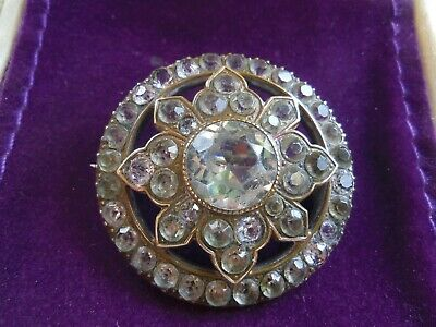 "ANTIQUE Early19th.C.BEAUTIFUL PAVE PASTE PINCHBECK 1.5"" ROUND DOME TARGET BROOCH"