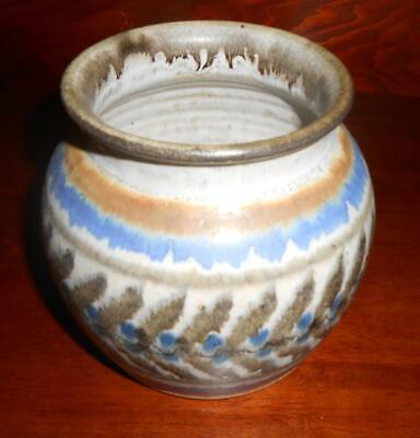 "Handcrafted Signed Jim Fineman Glazed Studio Pottery Vase Pot  5"" N Carolina"