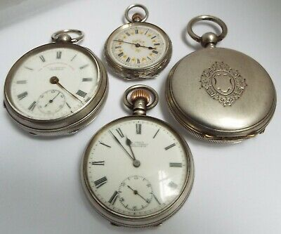 4 Nice English Antique 1900-1910 Sterling Silver Pocket Watches Some For Repair