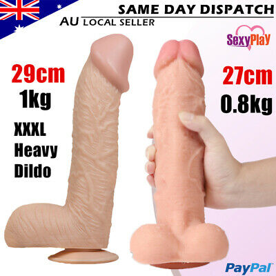 GIANT Super Realistic Dildo Dong Strap on Veined Silicone Penis Cock Suction Cup