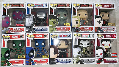 Funko POP Games Marvel lot of 10 Action Figures Vaulted Exclusive Thor Deadpool