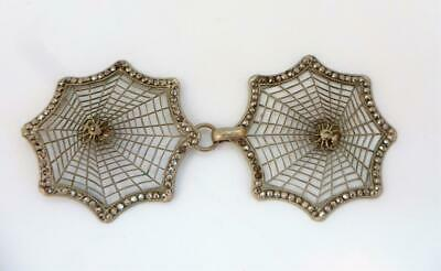 Antique Art Deco Large Ornate Spider & Web Buckle Belt Cloak Fasteners c1920/30s