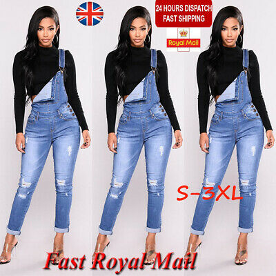 Women Denim Jeans Jumpsuit Overall Ladies Long Dungaree Trousers Pants Playsuits