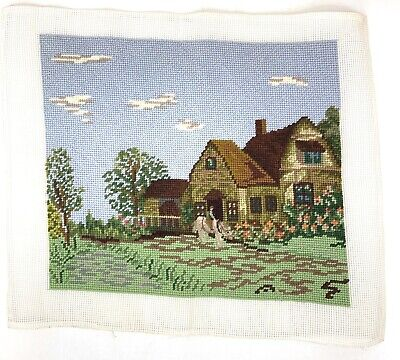 Raw Needlepoint Embroidery Canvas Completed Country Home Landscape Unblocked
