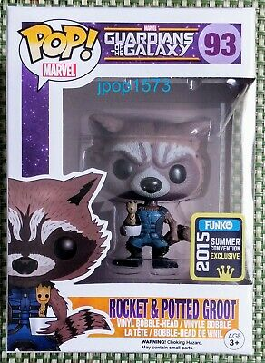 Funko Pop Guardians of the Galaxy Rocket Potted Groot SDCC Summer Con Exclusive!