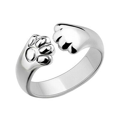 Women Cat Paw Claw Open Ring Silver Plated Finger Ring Animal Jewelry GiftS&RCFA
