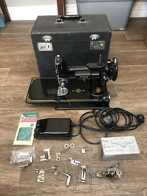 Vintage 1951 SINGER FEATHERWEIGHT Sewing Machine 221K CENTENNIAL w/ Case EUC