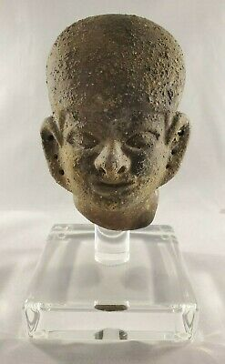 Amazing Archaic Style Bust Pottery on Clear acrylic display base -Mesoamercian?
