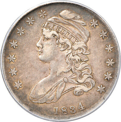 1834 Sm. Date, Sm. Lt Capped Bust Half Dollar XF 45, PCGS 50c C00045725