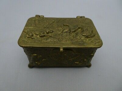 Antique Brass Tobacco Snuff Match Box High Relief Hunt Scene Hinged Lid Cherub