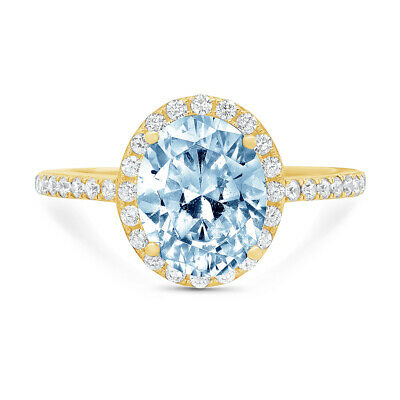 3.48 ct Oval Halo Blue Stone Classic Bridal Statement Ring Real 14k Yellow Gold