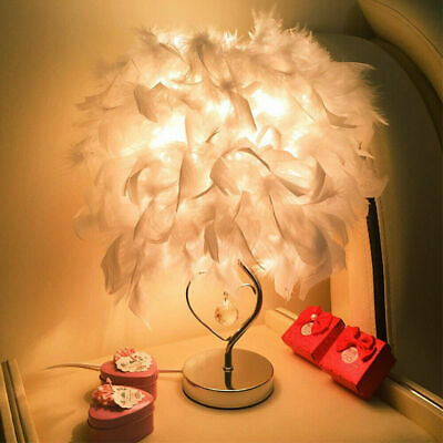 Feather Table Lamp Shades Night Light Bedside Desk White Decor Lampshade H9G5U