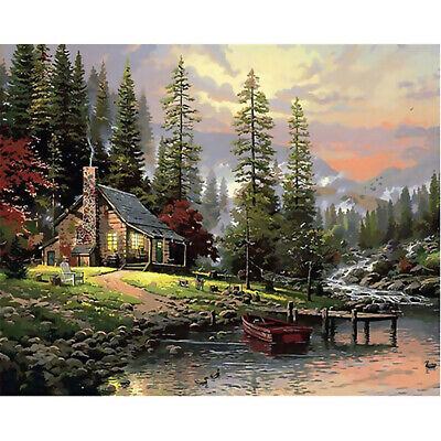 Canvas Paint By Numbers Kit Oil Painting DIY Wood House No Frame Christmas Gift