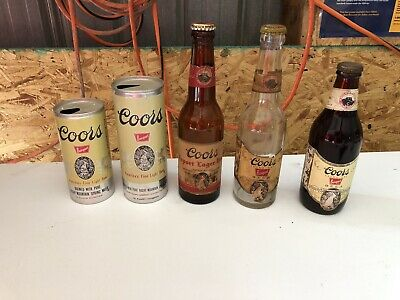 Collection Of Coors Beer Bottles & Cans Old