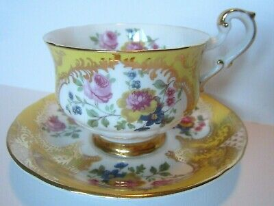 Paragon Fine Bone China Cup & Saucer - Yellow Gold - Pink Yellow Blue Flowers