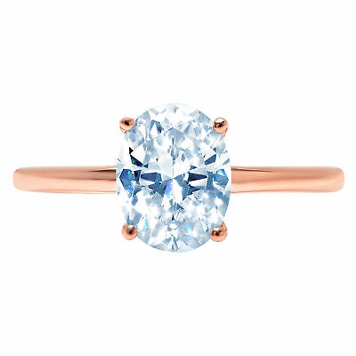 2.5ct Oval Designer Statement Bridal Classic Blue Stone Ring 14k Rose Gold