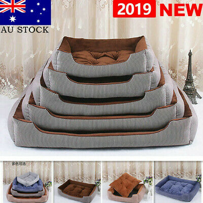 Pet Dog Cat Stripe Bed Puppy Cushion House Soft Warm Kennel Mat Blanket Washable
