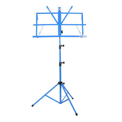 High Quality Sheet Music Metal Stand Holder Folding Foldable with Bag Blue