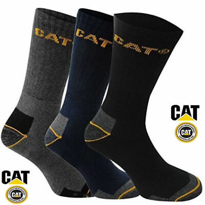 3-6-12 Pair Mens Caterpillar Cat Work Socks Assorted Colors Usa Size 10-13 13-16