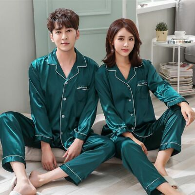 Women Men Couples Silk Satin Pajamas Set Long Sleeve Pyjamas Sleepwear Nightwear