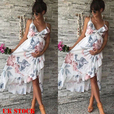 Summer Womens Maternity Dress Casual Chiffon Floral Daily Party Beach Dresses