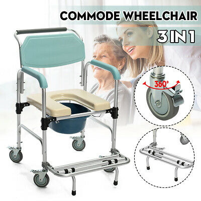 3 in 1 Commode Wheelchair Bedside Toilet Shower Seat Bathroom Rolling Chair Kit