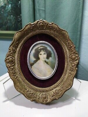 Vintage Cameo Creations Mini  Portrait Hubak Lady Ornate Victorian Frame