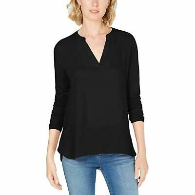 INC Womens Mixed Media Split Neck Blouse Black M