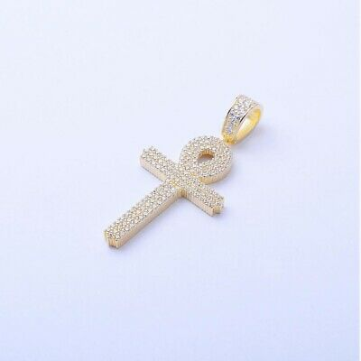 14k Yellow Gold Over Sterling Silver Cz Egyptian Ankh Cross Charm Pendant