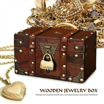 Retro Treasure Chest With Lock Vintage Wooden Storage Box Gift Jewelry Organizer