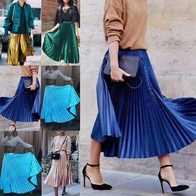 Women Fashion High Waist Maxi Skirt Pleated Retro Long Dress Elastic Waist#