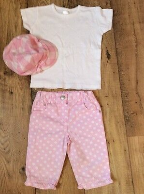 OUTFIT Pink Spotty Cropped Trousers & White T-Shirt 3-4 Yrs & NEXT Hat 3-5 Yrs