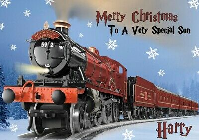personalised Christmas card Harry Potter Hogwarts Express Any name/relation